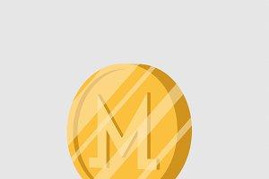 Monero cryptocurrency sign vector
