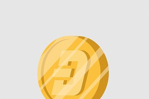 Dash cryptocurrency sign vector