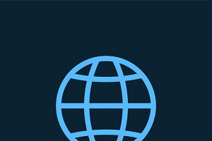 Blue global connection symbol vector