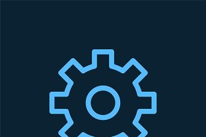 Supporting blue gear symbol vector