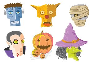 Set of Halloween Monsters Faces