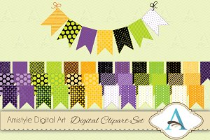 -Halloween Bunting Flags Clipart Set