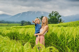 Mom and son travelers on Beautiful