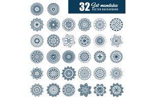 32 mandalas monochrome boho style