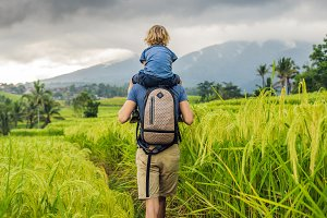Dad and son travelers on Beautiful