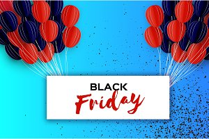 Black Friday Sale Banner. Balloons