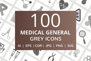100 Medical General Greyscale Icons