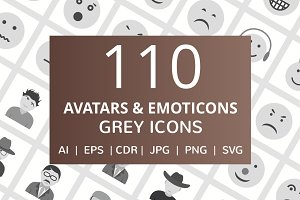 110 Avatars & Emoticons Grey Icons