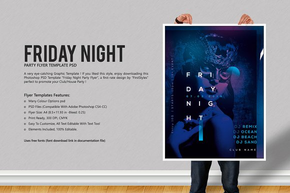 friday night party flyer template flyer templates creative market