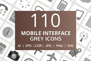 110 Mobile Interface Greyscale Icons