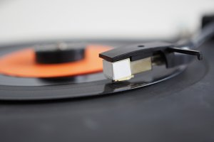 Vinyl record on turntable