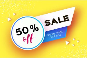 Sale Banner in paper cut style