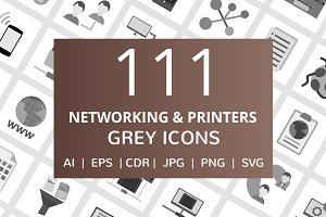 111 Networking & Printers Grey Icons