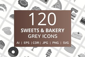 120 Sweets & Bakery Greyscale Icons