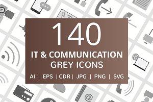140 IT & Communication Grey Icons