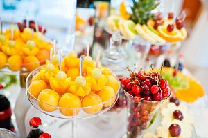 Different fruits with apricot and ch