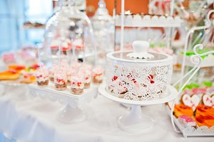 Different sweets and cupcakes at cat