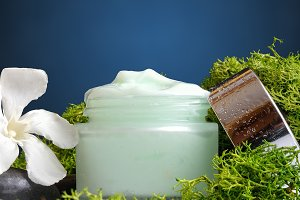 Cream jar algae vertical view blue