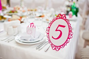 Wedding guest number of table 5 at w