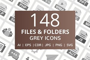 148 Files & Folders Greyscale Icons