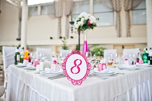 Wedding guest number of table 8 at w