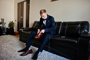Man wear shoes, morning of groom at
