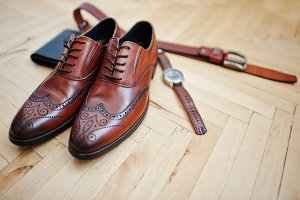 Accessories for mens lay on the wood