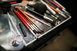 Professional makeup brushes and make