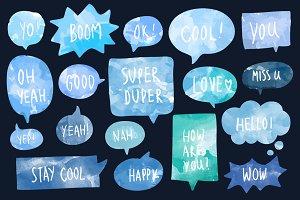 watercolor speech bubbles vector