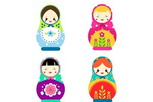 Cute matreshkas. nesting dolls