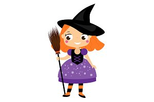 Cute witch holding broom