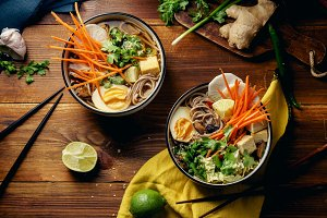 Vegetarian miso ramen with shiitake