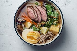 Miso ramen with roasted beef