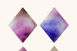 Diamond shaped watercolor vector