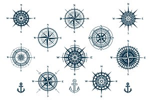 Vector Set of Compass Roses
