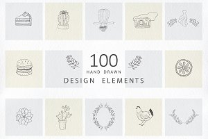 Hand drawn design elements. Logos.