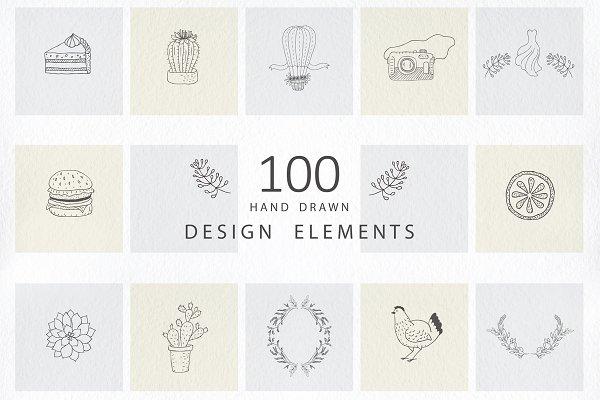 Hand drawn design elements. Logos.