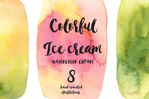 IceCream watercolor clipart
