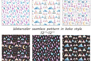 Watercolor seamless pattern in boho