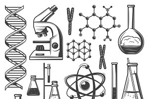 Vintage Laboratory Research Icons