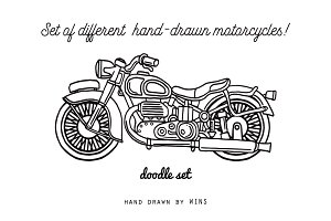 Set of hand-drawn motorcycles