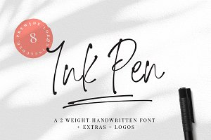 Ink Pen Handwritten Font & Logos