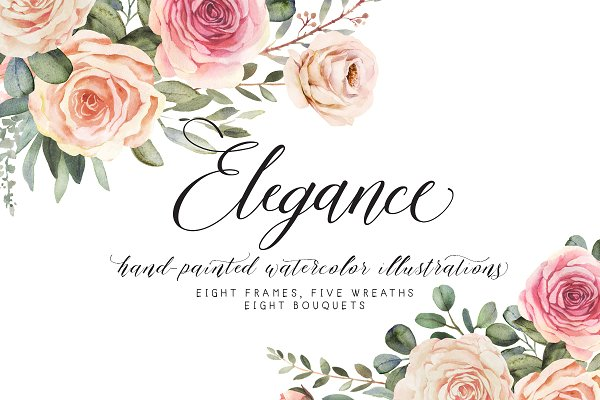 Elegance watercolor clipart