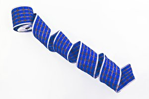 blue decorative wrapping tape isolat