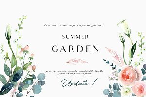 Summer garden - floral graphic set