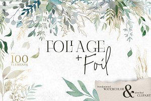 Foliage + Foil - Botanical Clipart