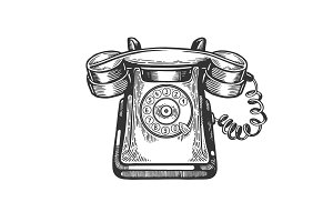 Old rotary dial phone engraving