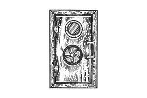 Bunker door engraving vector