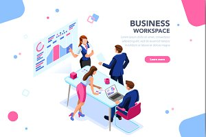 Business Flat Isometric Banner
