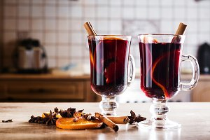 Mulled wine in glass